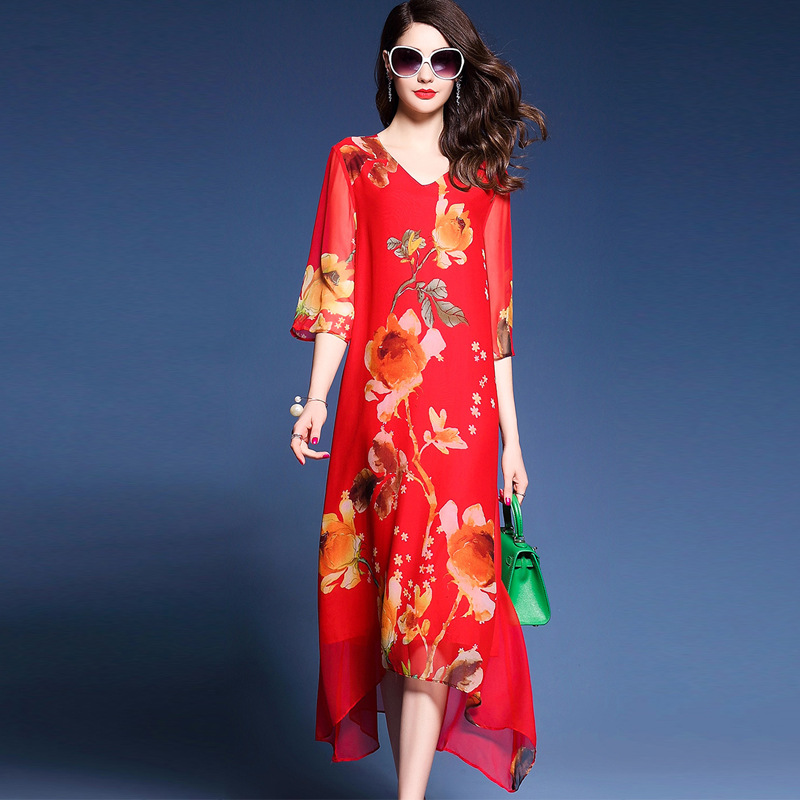 fashion real silk dress Plus size women clothing Summer women loose national style print dresses lady beach casual long dress