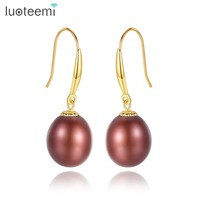 LUOTEEMI 2018 Brand Charm 18K Gold Dangle Earring For Women High Quality 8 9mm Colorful Freshwater