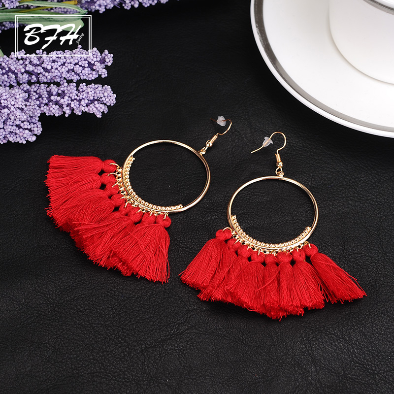 BFH Fashion Charm Large Circle Tassel Drop Earrings for Women Girl Wedding Party Bohemian Long Earring Jewelry Gift Wholesale