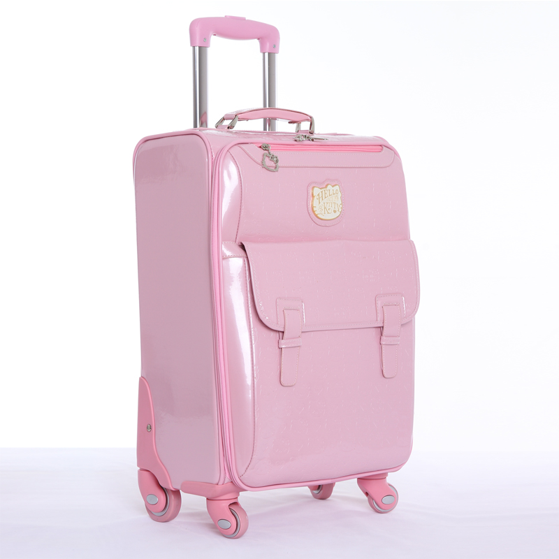 Wholesale!16 20 24inches hello kitty travel luggage bags on universal wheels,pink pu leather cartoon trolley luggage,fashion bag