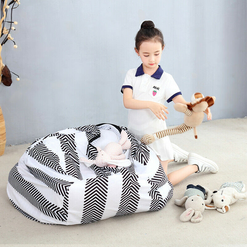 Stuffed Animal Storage Bean Bag Chair Extra Large Canvas Pouch Stripe Sofa Chair