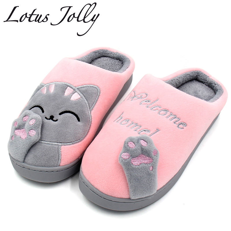 Women Winter Home Slippers Cartoon Cat Shoes Non-slip Soft Winter Warm House Slippers Indoor Bedroom Lovers Couples Floor Shoes