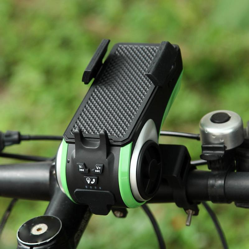 5 in 1 Bicycle Computer Phone Holder Bluetooth Audio MP3 Player Speaker 4400mAh Power Bank Bell Bike Light цена