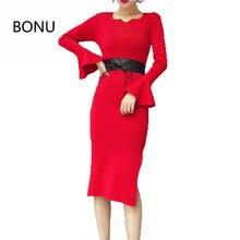BONU Sexy Bodycon Sweater Dress Simple Elegant Dress Female Winter Knitted Flare Sleeve Split Dresses For