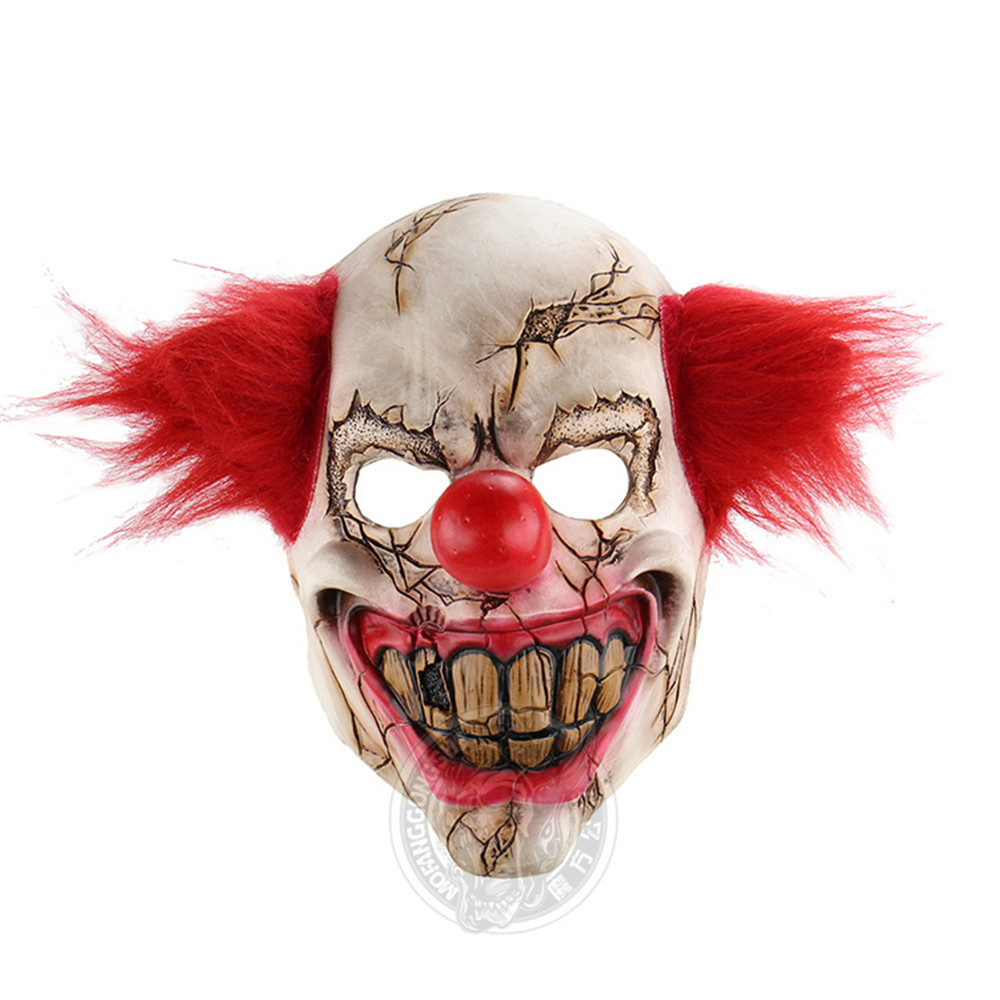 Halloween Mask Scary Clown Latex Full Face Mask Big Mouth Red Hair Nose Cosplay Horror masquerade mask Ghost Party costumes