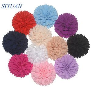 Image 1 - 50pcs/lot 3 Alternative Multilayer Chiffon Hair Flowers Without Clips For Garment Shoes Accessories FH32