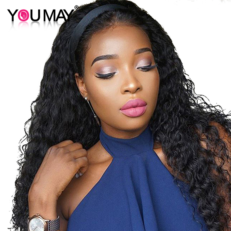 Curly Lace Front Human Hair Wigs With Baby Hair 250% Density Brazilian Remy Hair For Black Women Bleached Knots You May Hair