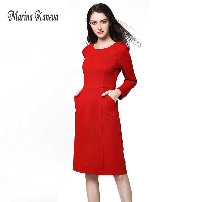 000e2f7e0871a Red/Black Women Dress Workwear Long Sleeve Knee Length Sheath Dresses Women  Autumn Elegant Straight