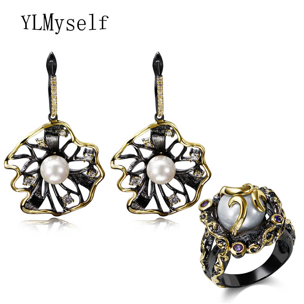 New black earrings Ring sets High quality CZ Fashion white pearl Women statement trendy 2pcs jewelry set