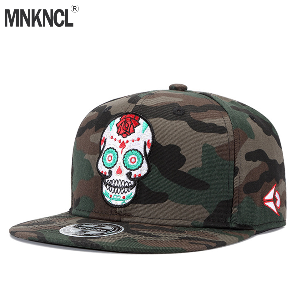 MNKNCL High Quality Camouflage Skull Embroidery Baseball Cap 100%Cotton Snapback Cap Hip-Hop Flat Adjustable Hats mnkncl high quality camouflage skull embroidery baseball cap 100