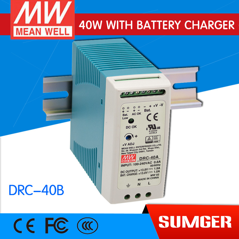 [Sumger2] MEAN WELL original DRC-40B 27.6V meanwell DRC-40 40.2W Single Output with Battery Charger (UPS Function) импульсный блок питания mean well 100 100w 12v drc 100a