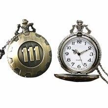 Womens Mens Quartz Pocket Watch 1 PC Vintage Watch Necklace Punk Vault 111 Bronze Unisex Watch Pendant On Chain Wholesale 30M15