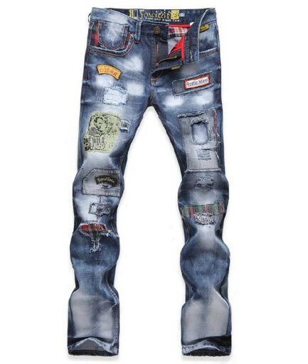 ФОТО Repaired Distressed Jeans Men Badges Embellished New 2017 Bleached Mens Denim Pants Hiphop Garment Washed Free Shipping