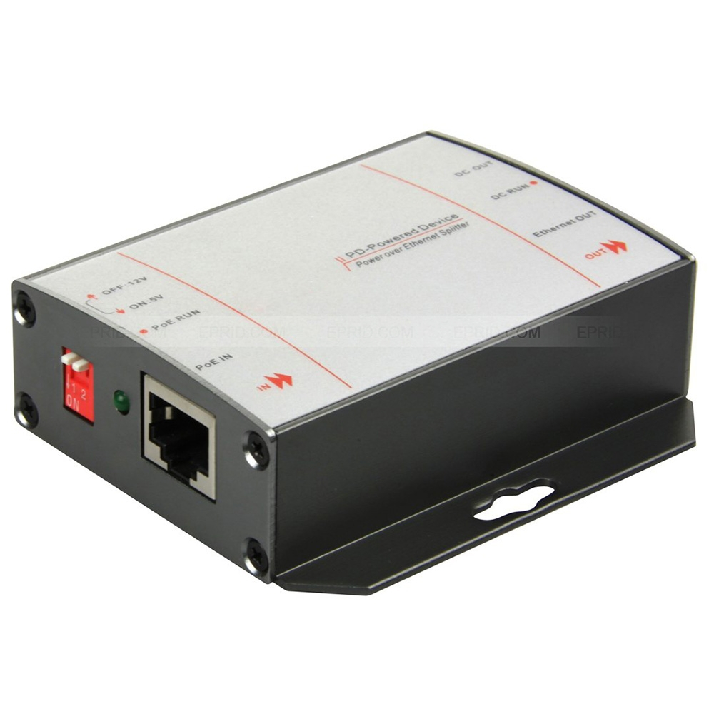 Power Over Ethernet Passive POE Injector Splitter DC 5V 12V Output 10/100M 802.3af