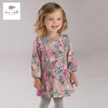 DB3667 дэйв белла осень девочка цветок печатных платье детские печатных малышей платья одежда рождения платье девушки костюмы