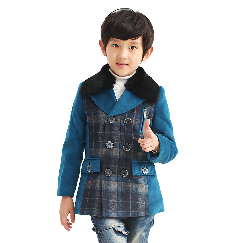 Children's wear jacket 2018 new fashion boy woolen coat winter boy plaid casual woolen coat big boy coat one button design longline woolen coat page 7