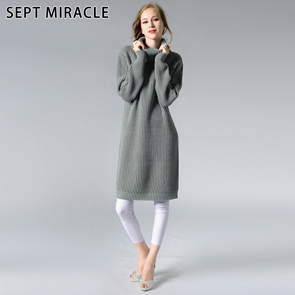 SEPT MIRACL Long Sweater Dress Women Knitted Dresses Club Party One-Piece Fashion Warm Sheath Mature Winter Turtleneck Dress