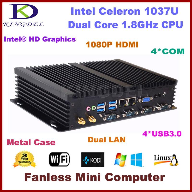 2016 HOT Fanless Mini Industrial Computer Desktop PC, Intel Celeron 1037U CPU 4GB RAM 128GB SSD Dual LAN RS232 USB3.0 WiFi HDMI  8g ram 128g ssd fanless industrial linux micro computer intel celeron 1037u dual core 4 rs232 come port 2 gigabit lan usb 3 0