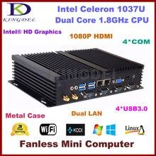 2016 Горячая безвентиляторный мини промышленный компьютер настольных ПК, Intel Celeron 1037U Процессор 4 ГБ Оперативная память 128 ГБ SSD Dual LAN RS232 USB3.0 Wi-Fi HDMI