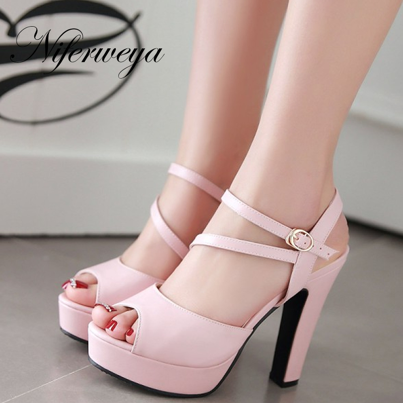 5 Colors New summer 12 cm high heels big size 32-43 Peep Toe Buckle Strap women shoes thick heel Platform sandals zapatos mujer cd аудиокнига пелевин в ананасная вода для прекрасной дамы 1мр3 союз