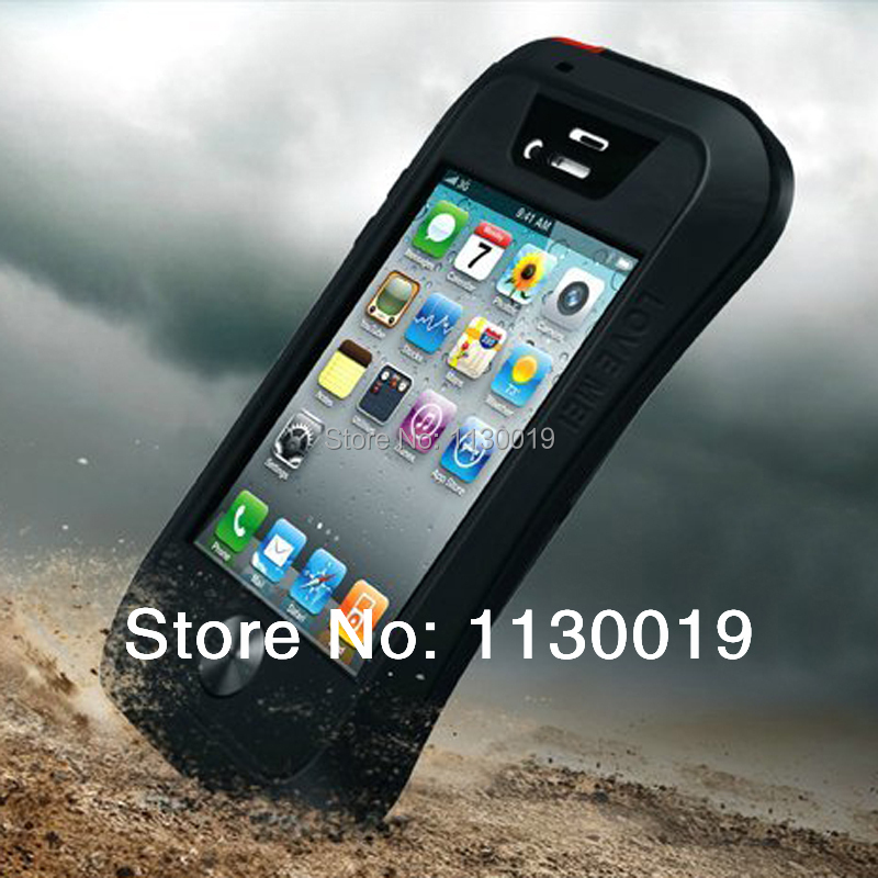Luxury Dirtproof Shockproof Waterproof 3 Proofs Metal Aluminum Case Cover with Gorilla Glass for iPhone 4s 4 mobile phone case