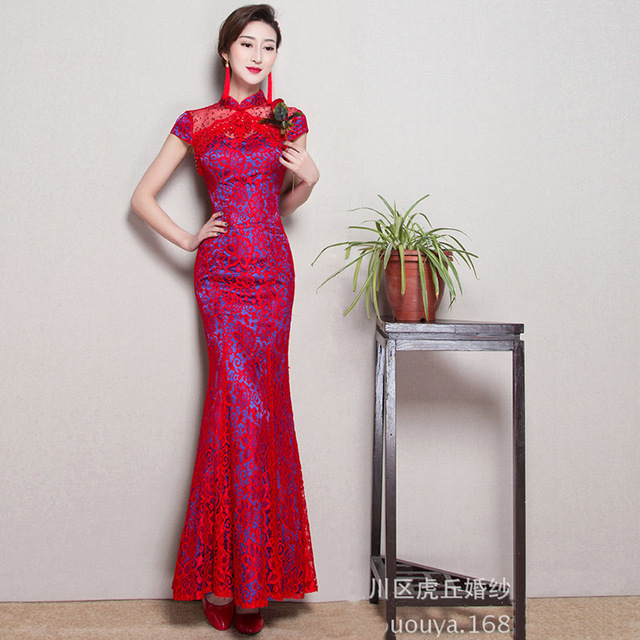 Red Lace Long Qipao Chinese Style Cheongsam Fashion Evening Dress Woman  Traditional Clothes China Modern Wedding Oriental Party b71f8a07a056