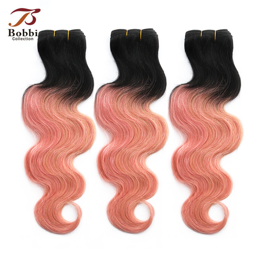 Bobbi Collection Brazilian Body Wave Ombre Hair Weave 2/3 Bundles Two Tone T 1B Pink Rose Gold Remy Human Hair Extensions