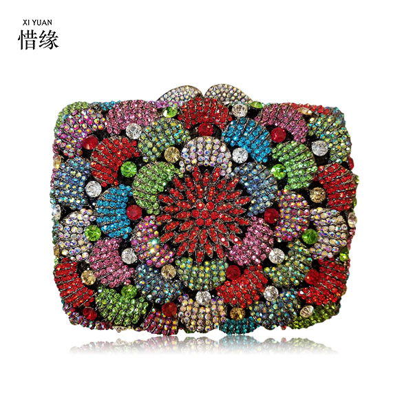 XIYUAN BRAND Luxury Evening Clutch Bag Diamond Crystal day Clutches Party Purse for Prom Ladies Wedding Bridal Bling Banquet bag blue luxury evening clutch bag diamond crystal clutches party purse for prom ladies round wedding bridal bling banquet bag