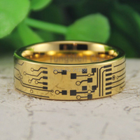 Cheap Price Free Shipping USA Canada Hot Selling 8MM New Golden Pipe CIRCUIT BOARD The Lord Men's Fashion Tungsten Wedding Ring