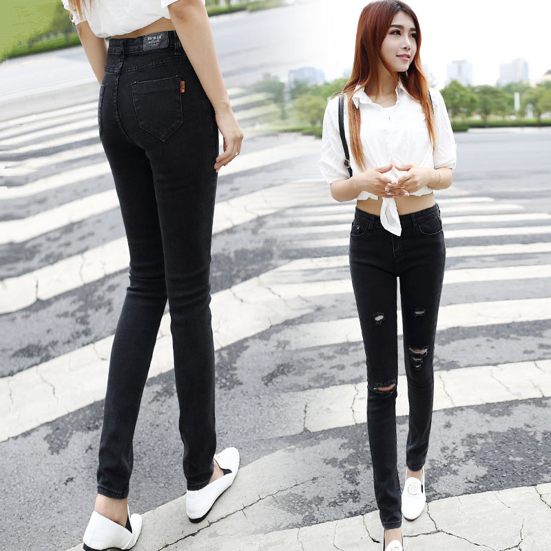 Cowboy Girl Black Tight Jeans Female Trousers Hole Slim Trousers Women Jeans High Waist Ripped Jeans Sexy Spring And Autumn In Jeans From Womens Clothing