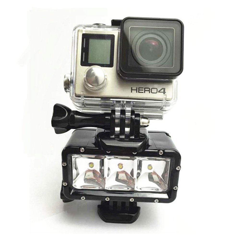 LED Video POV Flash Night Light for GoPro Hero 4 3 2 1 Action Camera + Rechargeable Battery + Charging Cable + Quick Release etc black friday gopro led flash light underwater 30m diving pov flash fill light high light for gopro 4 3 3 xiaomi yi accessories