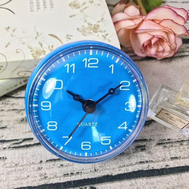 Blue Color Waterproof Clock Shower Clocks Mini Wall Bathroom Suction On Mirror
