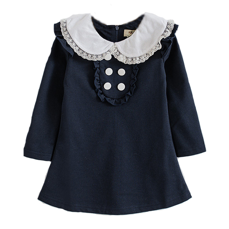 Baby girl dress autumn 2017 little girls party dresses cute fashion long sleeve kids for baby gray fall clothes