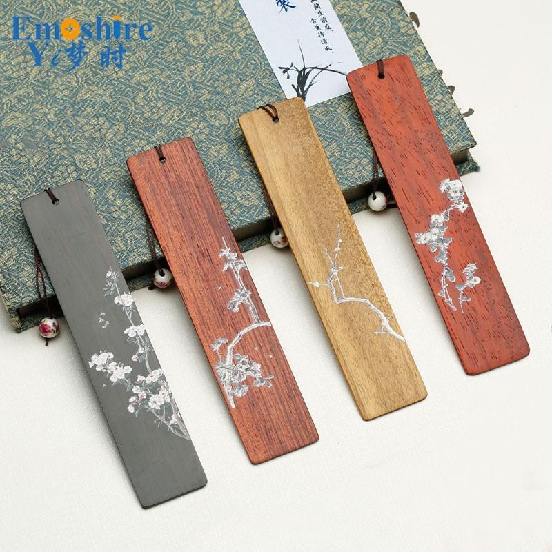 Flowers Painted Red Wood Bookmarks Set Ebony Wood Creative Custom BookMarke Lettering you Logo Name M039