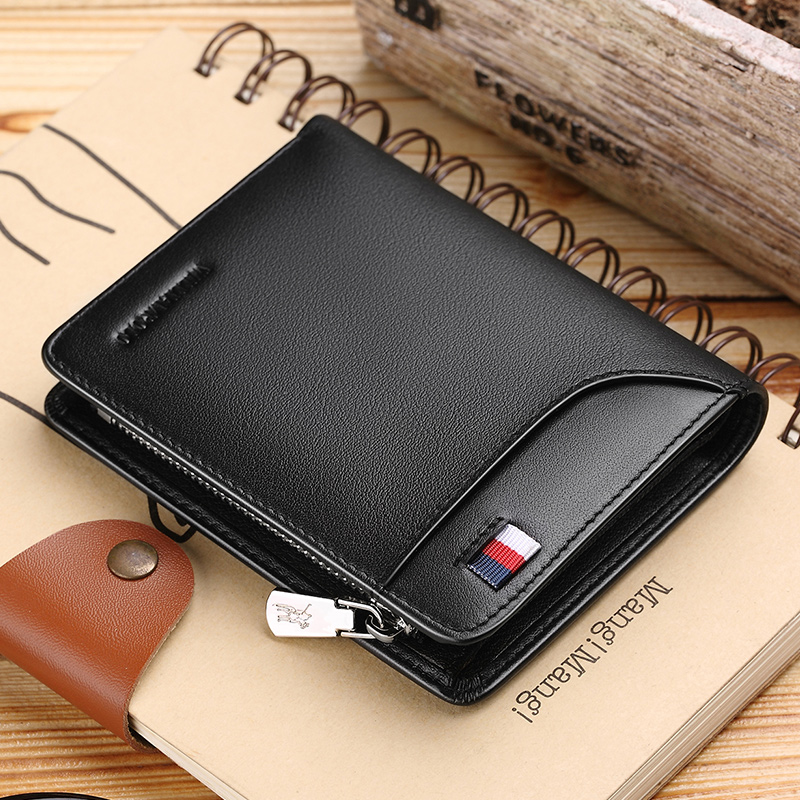 WILLIAMPOLO Genuine Leather Men Wallet Card Holder Business  Men Short Wallet Purse Zipper Wallets Casual Standard Wallets