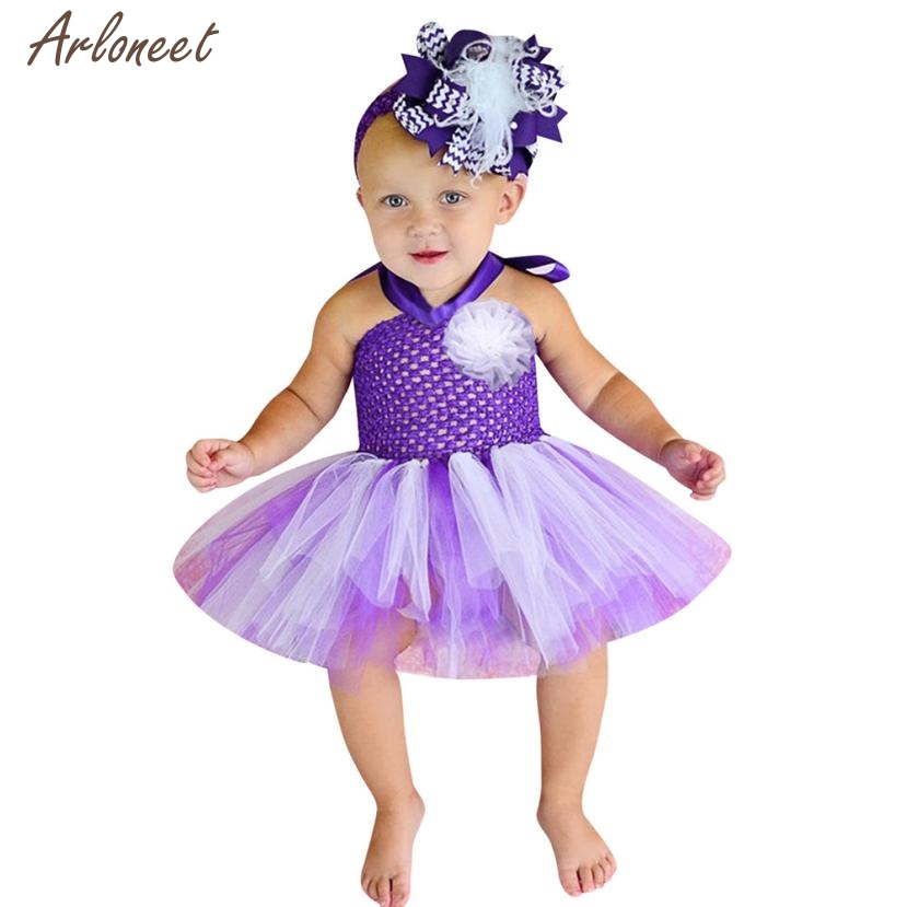 2018 newborn baby dresses for girls High Quality Baby Girls Kids Floral Tutu Rainbow Dance Fancy Party Dress FEB11