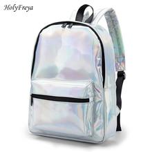Shiny Silver Fashion Women Backpack School Laser Shoulder Bags For Women Girls Back bag School Large Organizer School Backpack
