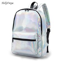 Shiny Silver Soft Women Backpack Laser Shoulder Bags For Women Girls Back Bag Colorful Face Simple