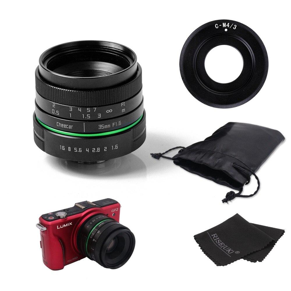 Galleria fotografica Nuovo cerchio verde 35mm APS-C cctv lens per per Olympus e <font><b>Panasonic</b></font> M4/3 Della Macchina Fotografica con c-m4/3 anello adattatore + case + regalo