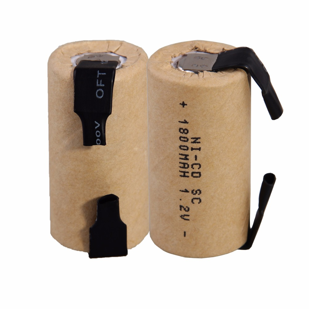 Real capacity 2 pcs SC 1800mah 1.2v battery NICD rechargeable batteries for emergency light toy equipment power power tools