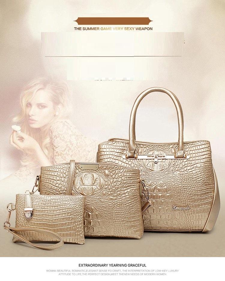 c92584c1db Luxury 3PCS Set Fashion Crocodile Handbag PU Leather Tote Women Shoulder  Handbag Ladies Crossbody Bag Messenger Bag+Clutch Purse