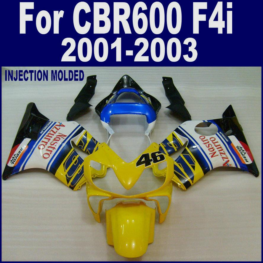 100% Injection customize for HONDA CBR 600 F4i fairings 01 02 03 CBR600 F4i 2001 2002 2003 yellow fairing kits ZOBF upper stay fairing bracket for honda cbr600 f4i 2001 2006 2002 03 04 05