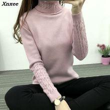 New winter dress Korean Turtleneck Shirt sleeve female twist head thickened slim slim sweater Xnxee цены