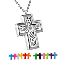 LASPERAL Cross 316L Stainless Steel Aromatherapy Diffuser Necklace Perfume Locket 2016 Fashion Pendant Necklaces
