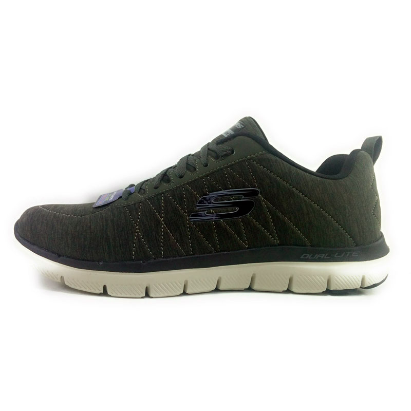 SKECHERS DELLA FLESSIONE VANTAGGIO 2.0 CHILLSTON uomo-scarpe da corsa sintetica tessuto di tessile Verde militare-Skechers uomo, Skechers scarpe