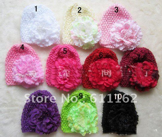 100pcs Size :14-15cm the Korean silk hair cap, bonnet, large flower peony + hat 10 color spot top