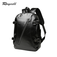 High Quality Practical PU Leather Mens Backpack Famous Brand Casual Men Laptop Backpack Black School Travel Backpack