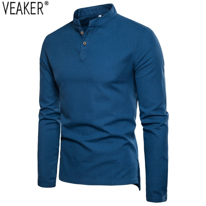 2019 Autumn New Men's Cotton Linen Shirts Chinese Style Slim Fit Long Sleeve Shirt Tops Men Solid Color Breathable Linen Shirt