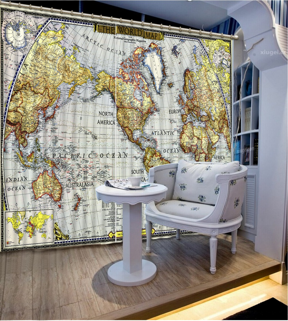 aliexpresscom buy curtains for living room world map 3d curtain home decoration curtains for bedroom from reliable curtains for suppliers on kuangdu 3d