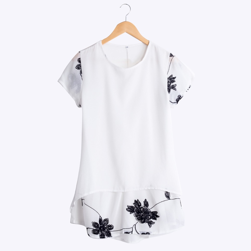 300 Good Feedback! S-5XL Plus Size Women Blouse Summer Style Long Shirt Chiffon Lace Embroidery Loose Tops Short Sleeve T5418